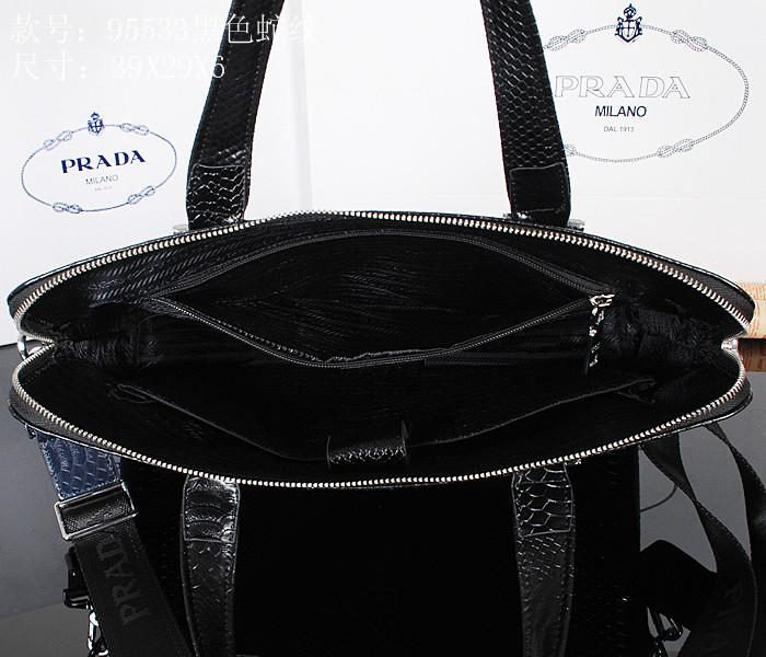新款prada普拉达蛇纹真皮手提包 电脑包 商务休闲男包